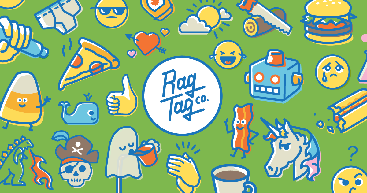 A preview of a variety of stickers in the Rag Tag sticker collection