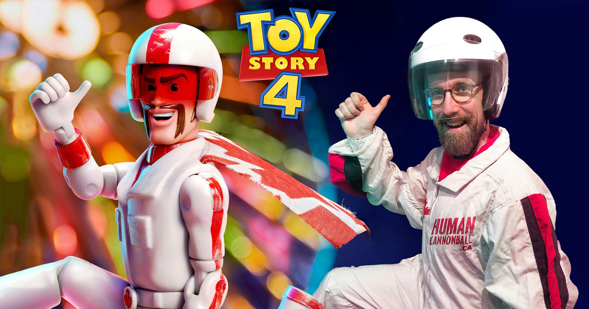 Me dressed as the human cannonball alongside Duke Caboom from Toy Story 4